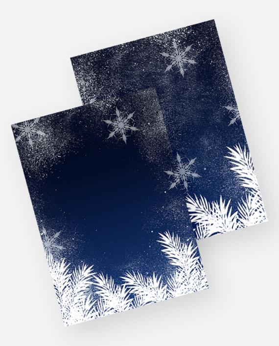 Elegant blue snowflakes winter white pine Christmas invitation mockup