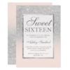 Faux Silver Glitter Pink Elegant Chic Sweet 16 Card