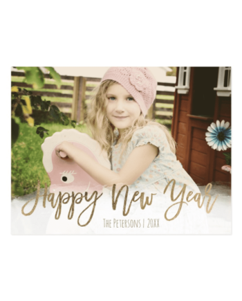 Happy New Year Gold Modern Typography Custom Photo