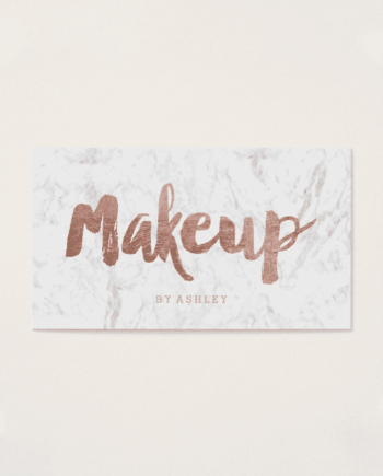 Makeup Artist Modern Rose Gold Typography Marble Business Card
