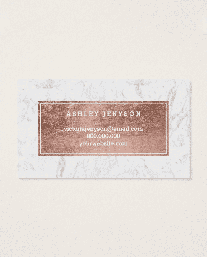 Makeup artist modern rose gold typography marble business card colourmoves