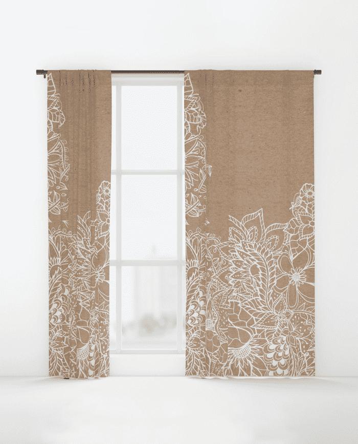 Modern White Floral Illustration Rustic Beige Kraft Window Curtains