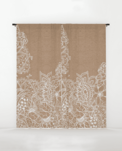 Modern White Hand Drawn Floral Illustration On Rustic Beige Faux Kraft Color Block