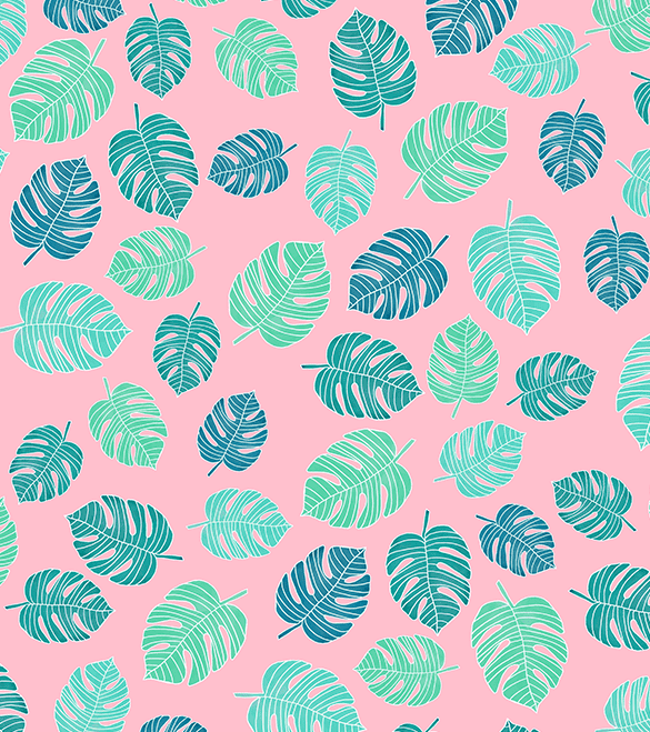 Modern tropical leaf monstera turquoise mint on pink about
