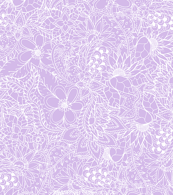 Modern white floral hand drawn pattern on pastel purple lavender about