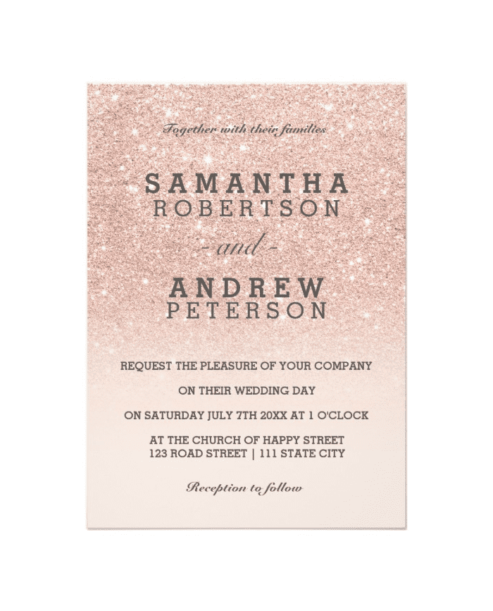 gold glitter wedding invitations shop gold faux glitter pink ombre wedding invitation 4534