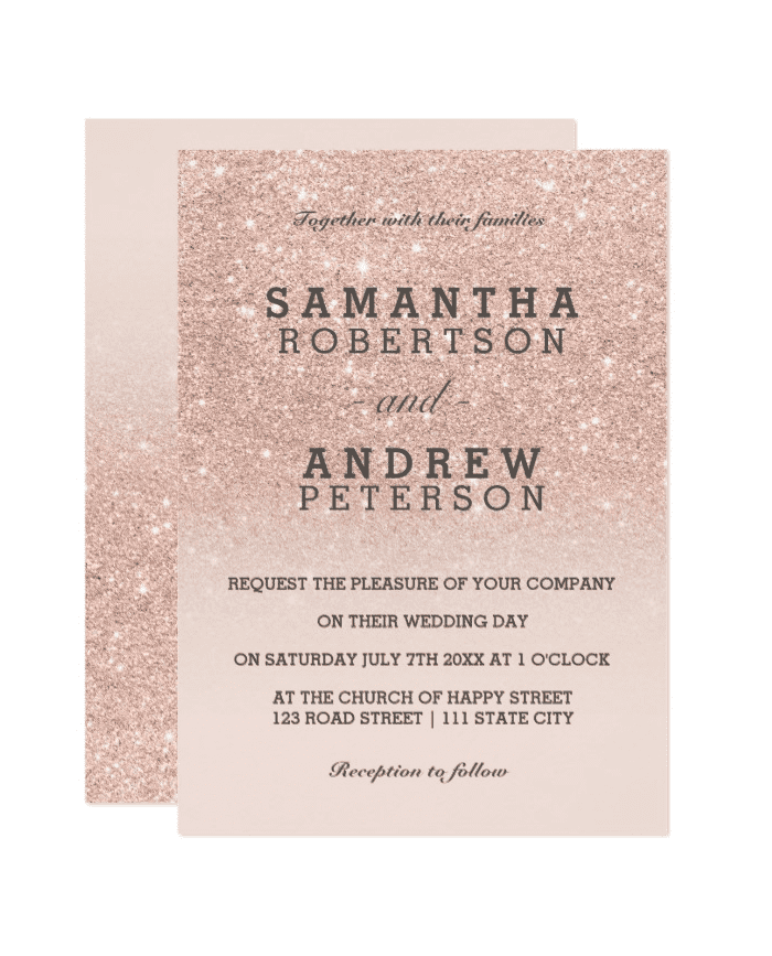 Shop | Rose Gold Faux Glitter Pink Ombre Wedding Invitation