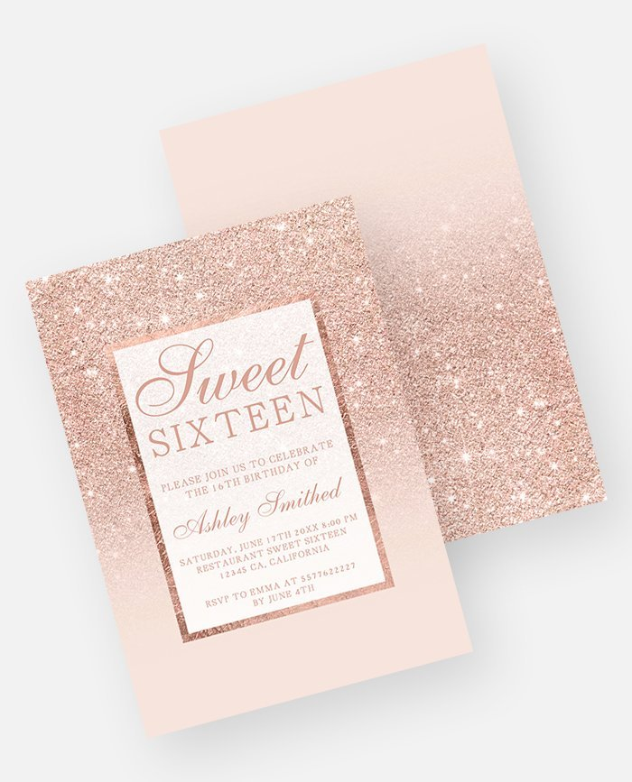 Unique Rose gold Glitter Pink Ombre Wedding Invitation| Digital Download JA53