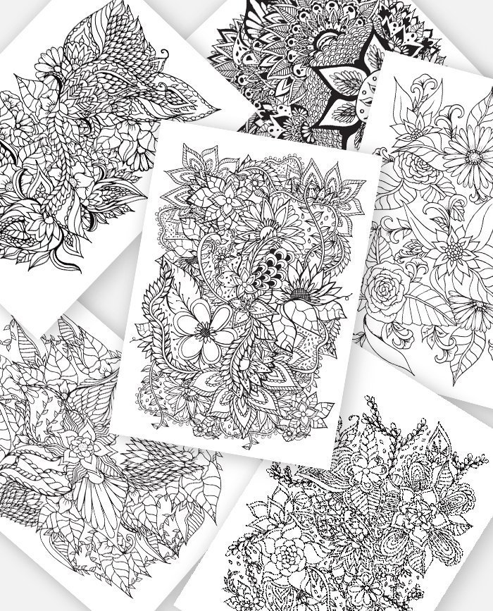 Adult Coloring Pages Instant Digital Download | 6 Floral ...