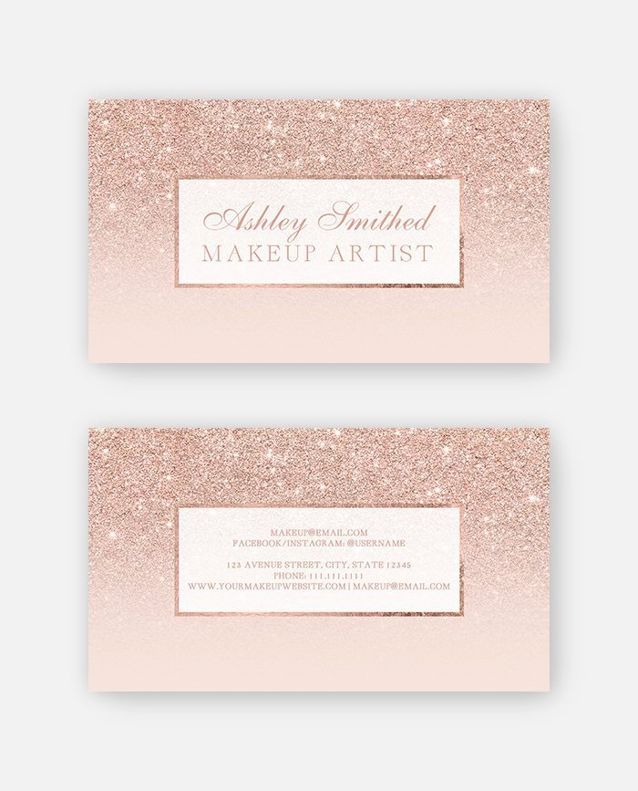 Modern rose gold glitter ombre makeup business card digital download colourmoves