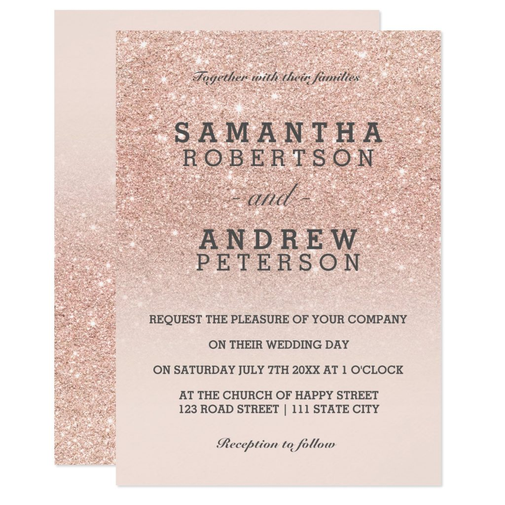 zazzle preview Rose gold glitter ombre wedding invitation digital download