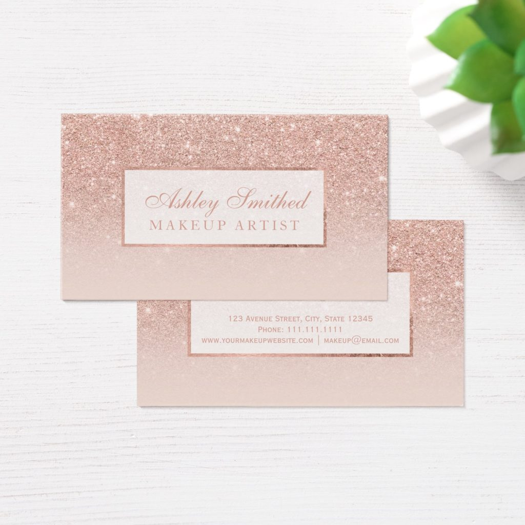 Rose gold glitter business card on Zazzle