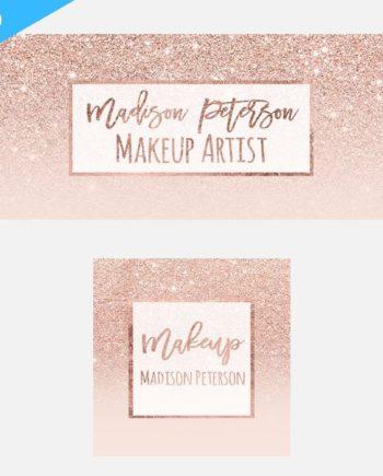 Modern Rose Gold Glitter White Blush Pink Twitter Banner Design