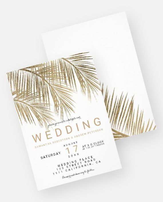 Modern faux gold palm tree elegant wedding invitation digital download