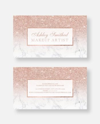 Rose gold glitter white marble makeup business card digital download