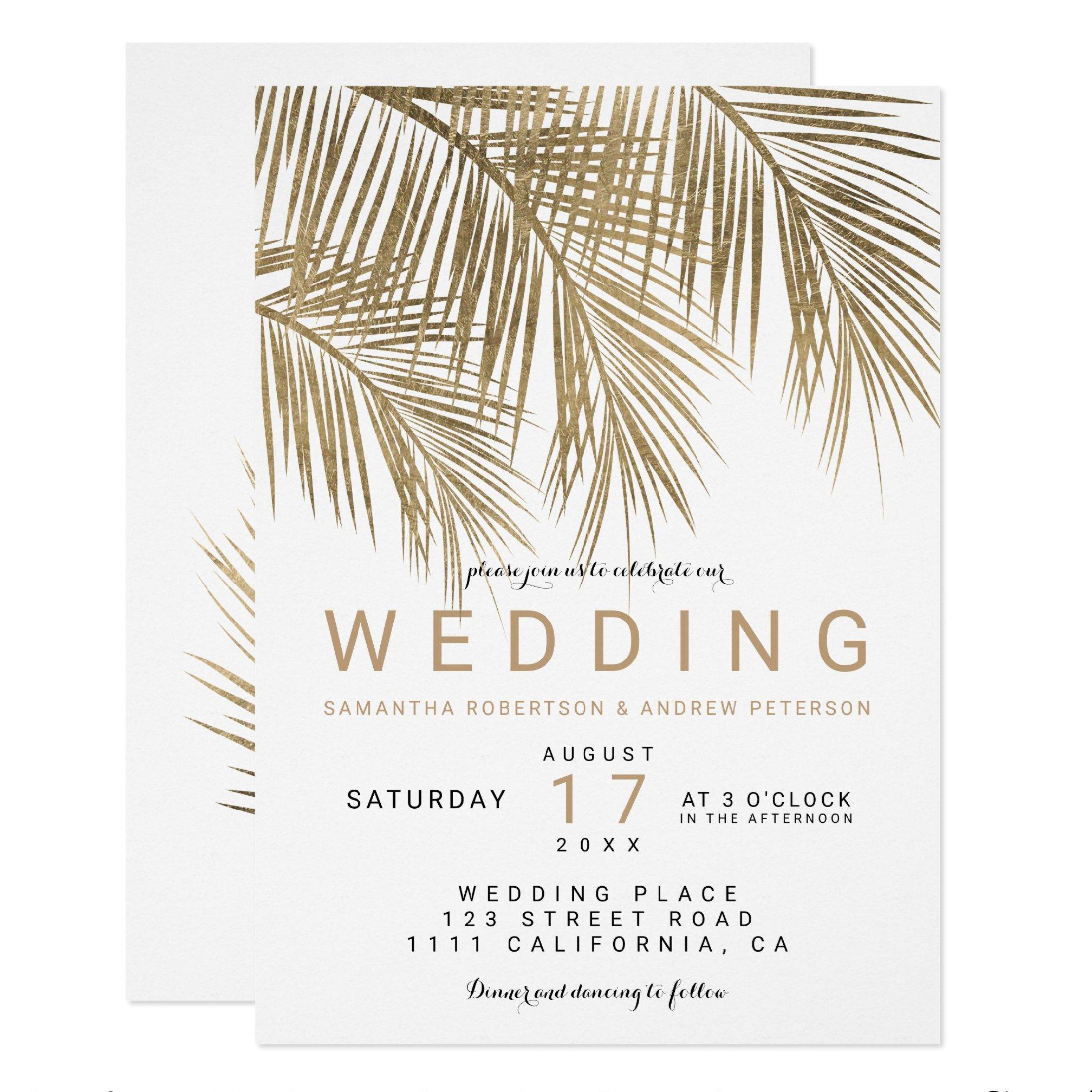 zazzle preview Modern faux gold palm tree elegant wedding