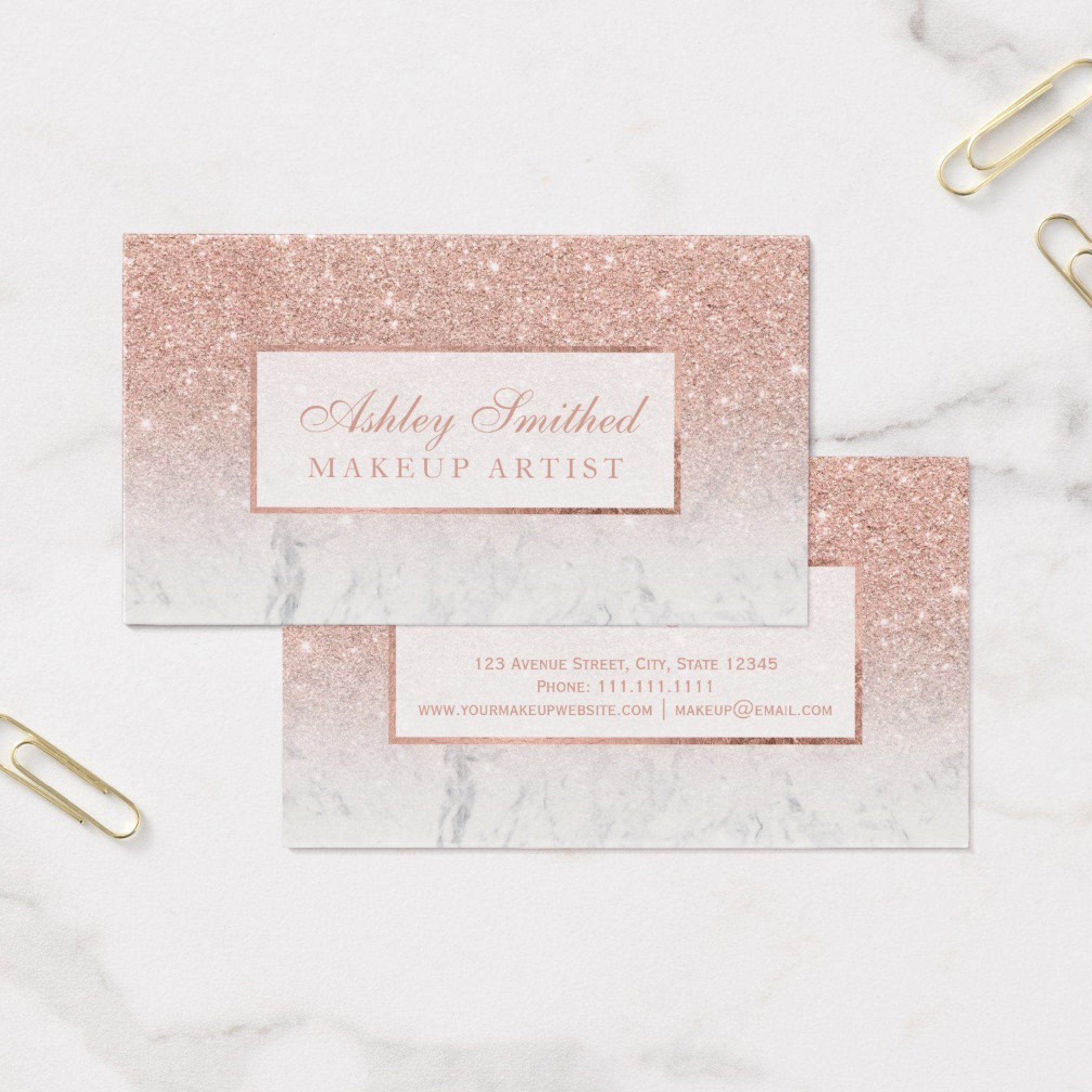 zazzle preview physical business card rose gold white marble
