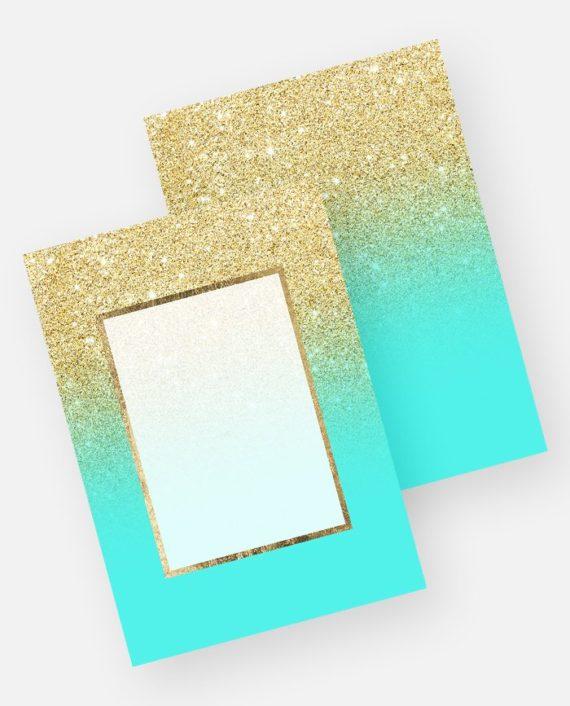 Gold glitter ombre aqua teal ocean preview