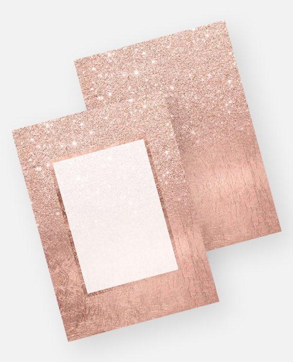 Rose gold glitter ombre rose gold foil invitation preview