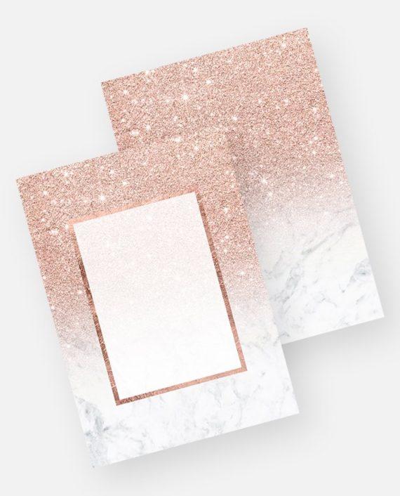 Rose gold glitter ombre white marble invitation preview