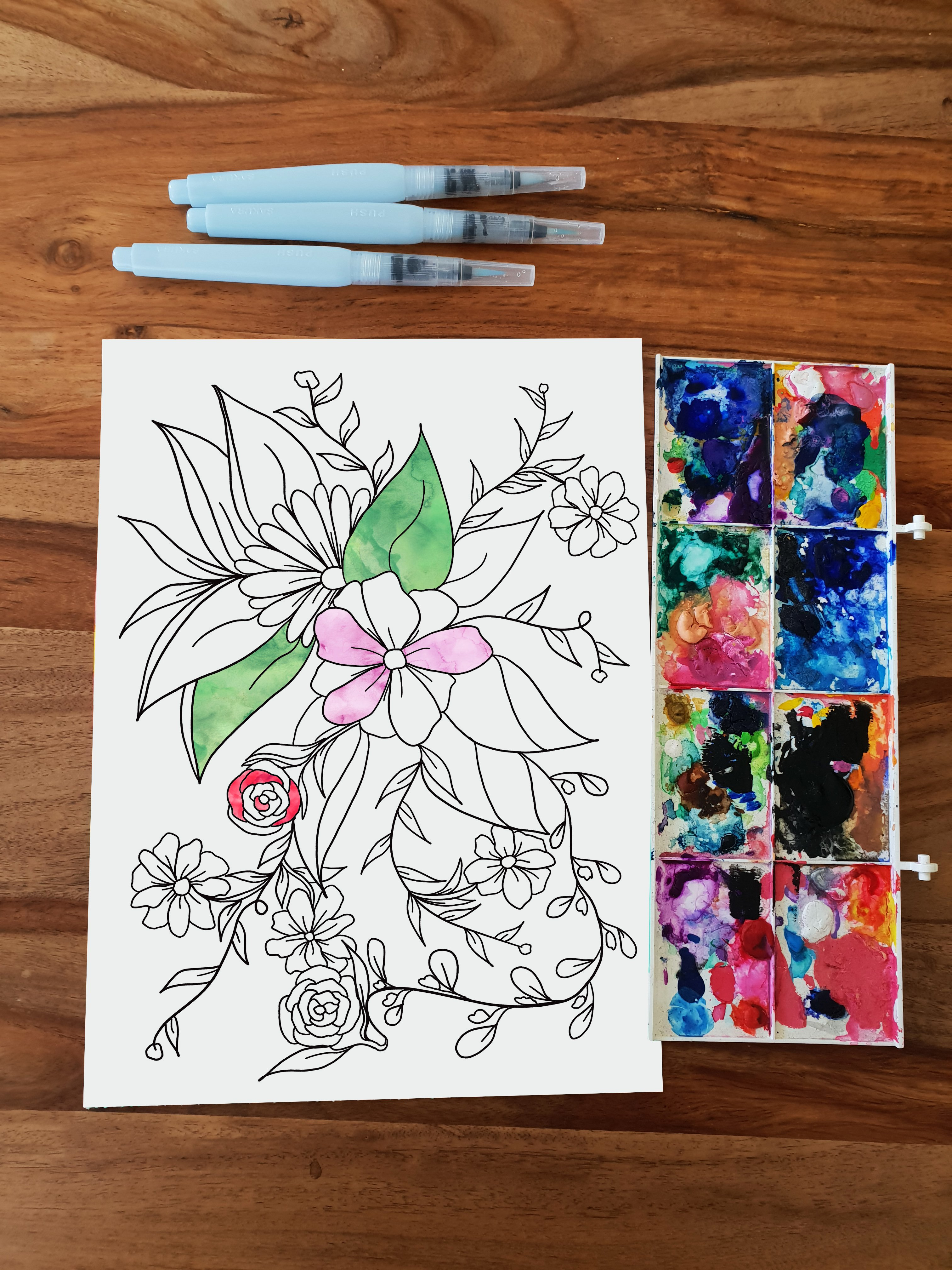 Spring floral coloring page preview watercolor
