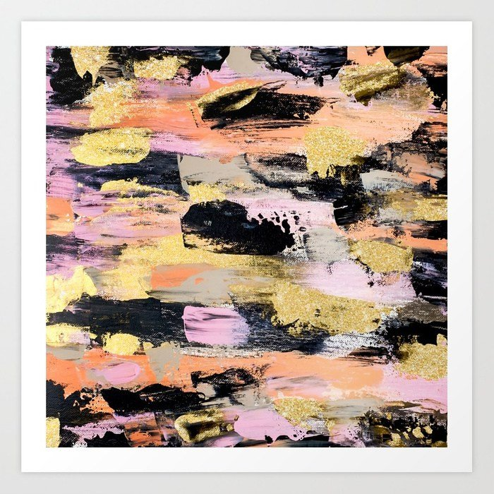 modern-abstract-black-pink-salmon-gold-hand-painted-acrylic-brushstrokes-paint-prints