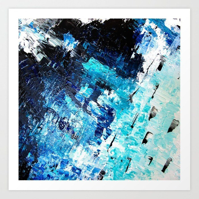 under the sea modern abstract blue acrylic society 6