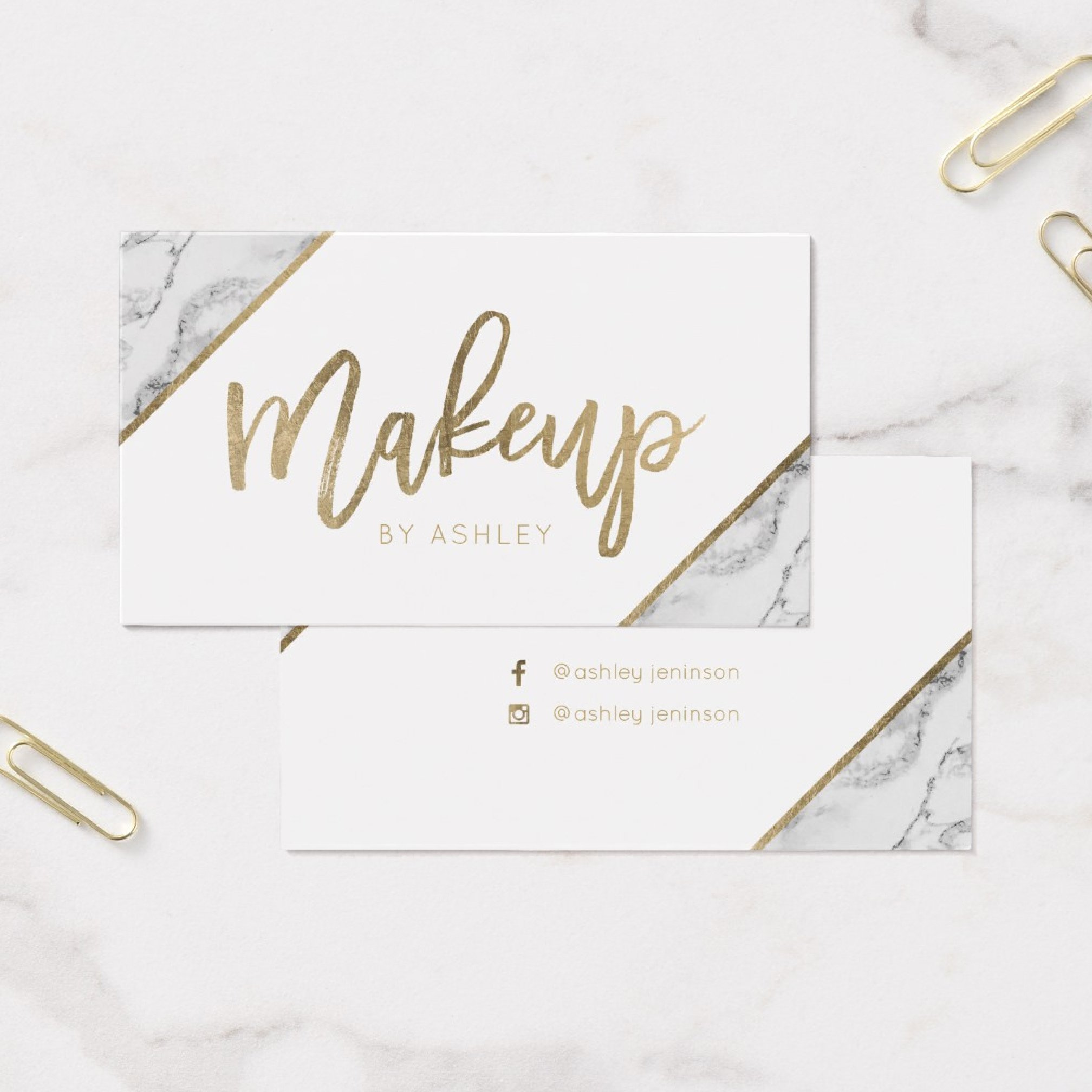 zazzle preview physical business card Chic Gold white marble script makeup typography Business Card