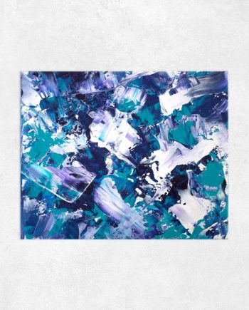 Be the change purple green teal blue abstract acrylic painting