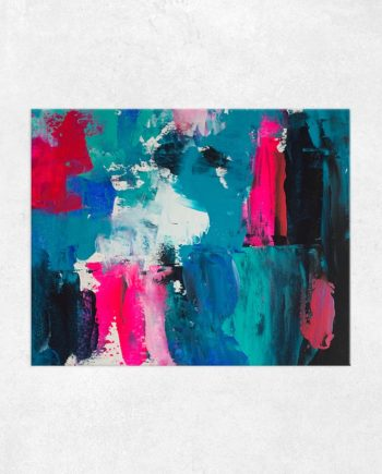 Look on the bright side neon pink blue brushstrokes abstract acrylic painting