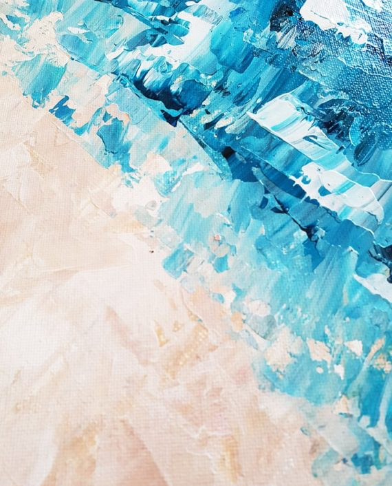 Take me to the sea blue beige abstract acrylic brushstrokes painting close up