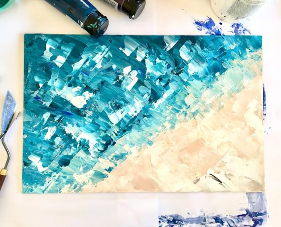 Take me to the sea blue beige abstract acrylic brushstrokes painting view 2