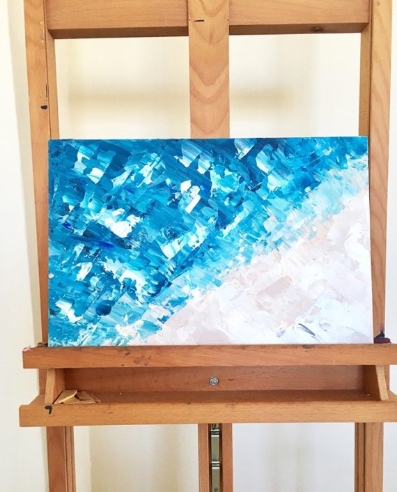 Take me to the sea blue beige abstract acrylic brushstrokes painting view