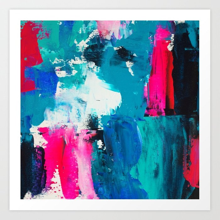 look-on-the-bright-side-neon-pink-blue-brushstrokes-abstract-acrylic-painting-prints