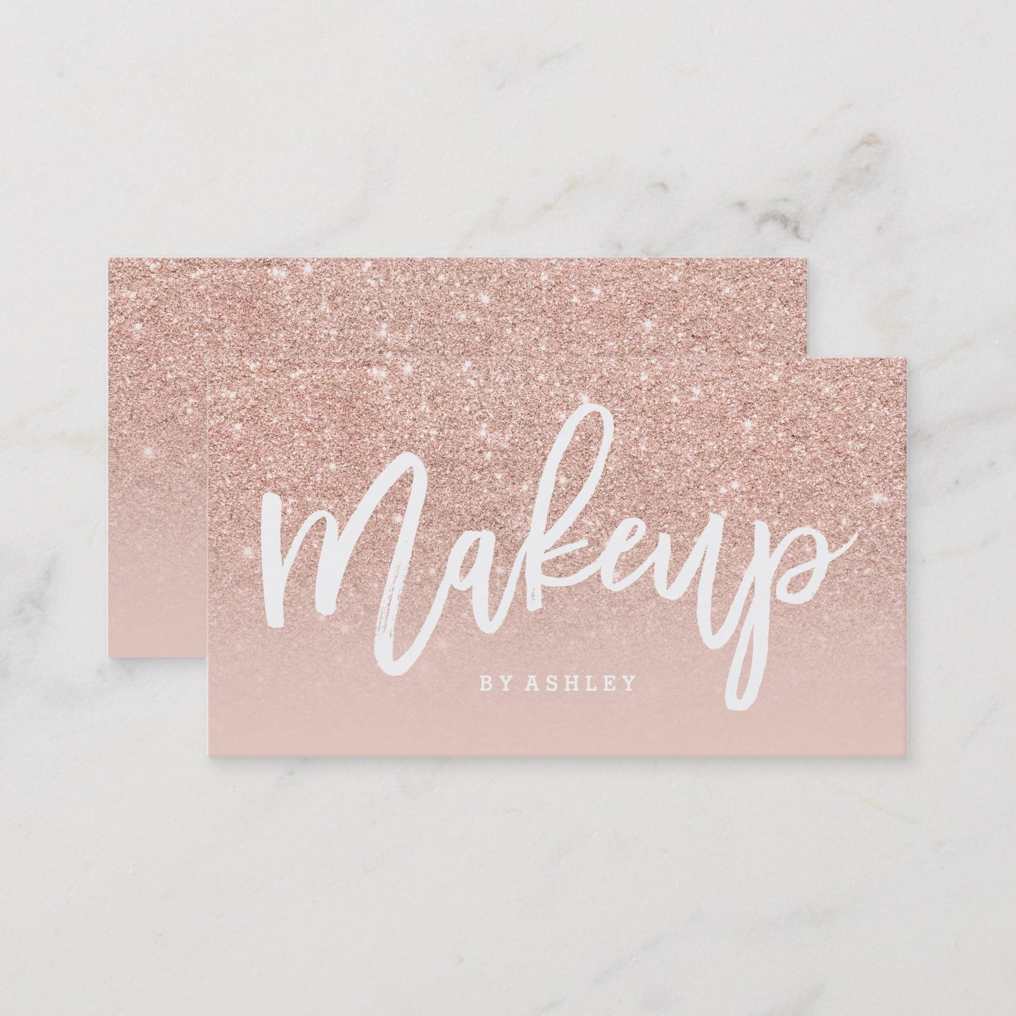 Makeup artist elegant typography blush rose gold business card zazzle preview