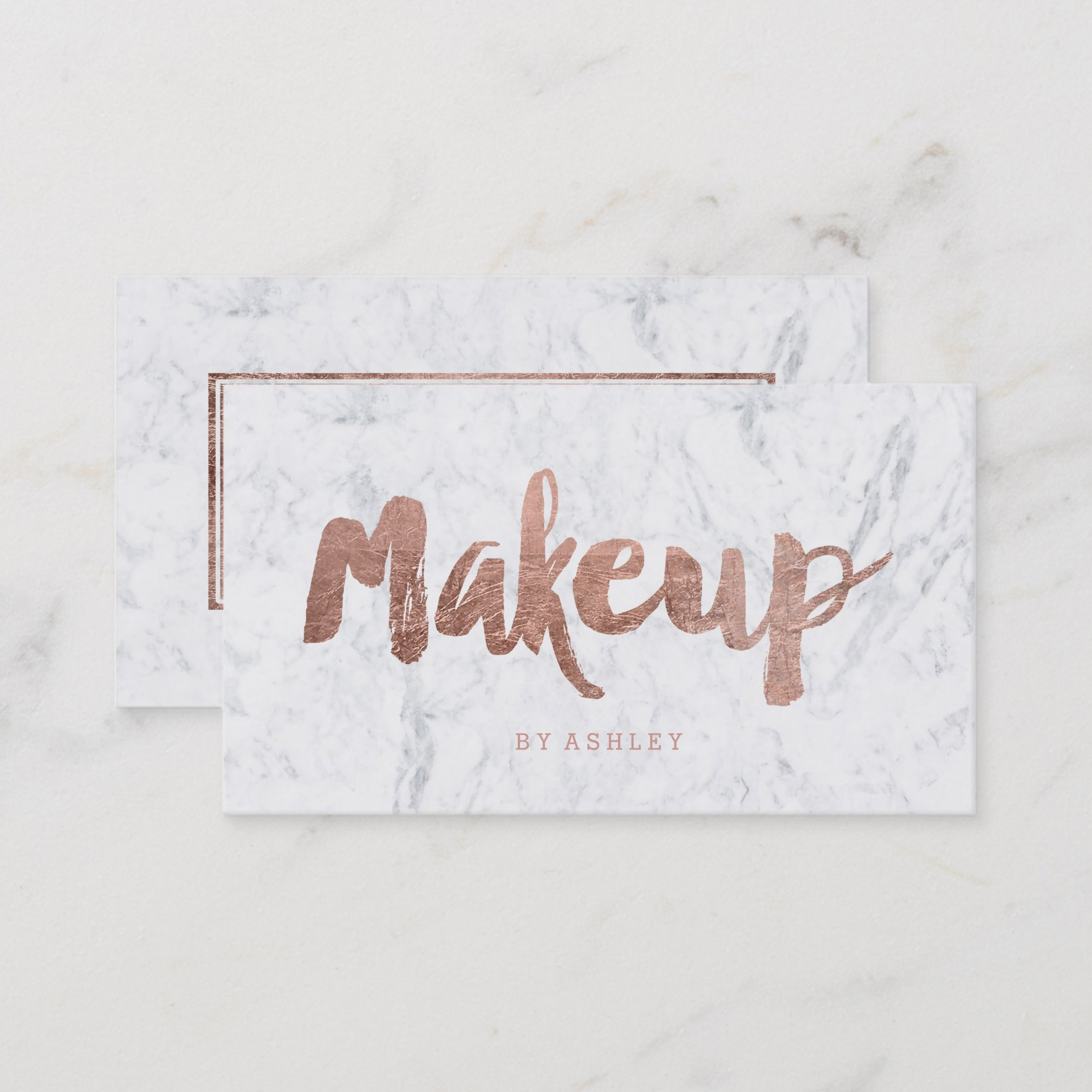 Makeup artist modern rose gold typography marble business card zazzle