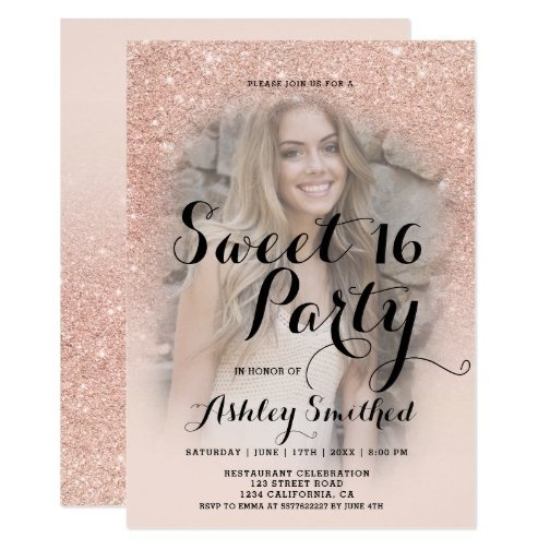 modern_faux_rose_gold_glitter_ombre_photo_sweet_16_invitation