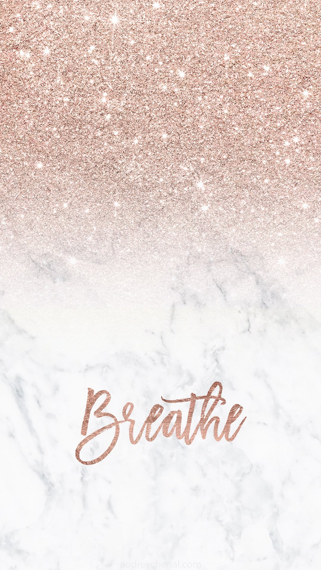 Rose gold glitter ombre white marble breathe typography Iphone wallpaper background audrey ...